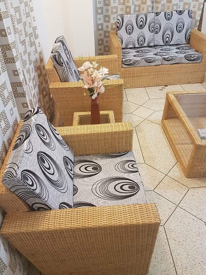 Cane Sofa Set With Divan 6 In One, Bamboo Sofa Set